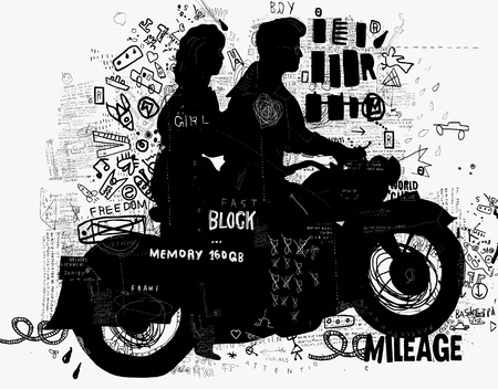 The symbolic image of the motorcycle on which the man and woman