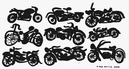 The symbolic image of vintage motorcycle on a gray background