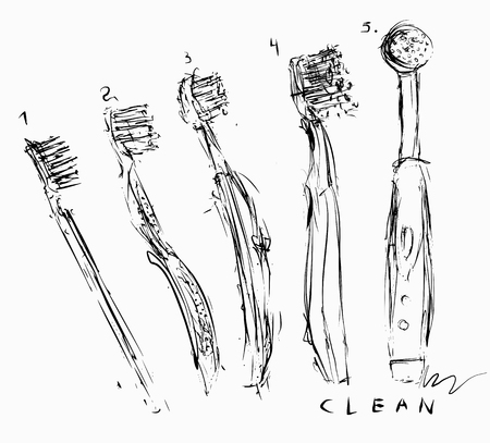 annotation: Symbolic image of toothbrushes Illustration