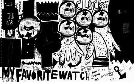 The symbolic image of the clock in the style of graffiti Illustration