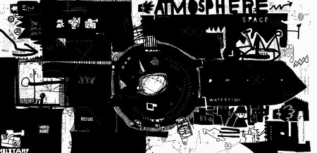 instrumentation: Symbolic image of military watches in the style of graffiti Illustration