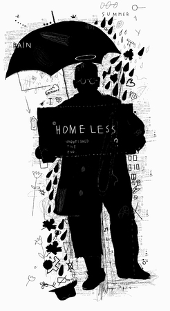 The symbolic image of a man who does not have his home Illustration