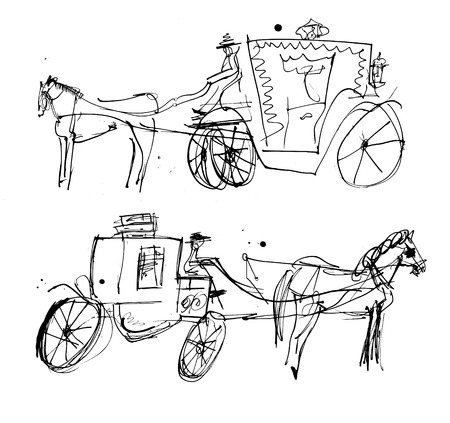 reins: Symbolic image of a horse and carriage in the form of a sketch Illustration