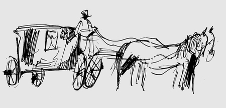 Symbolic image of a horse and carriage in the form of a sketch Illustration