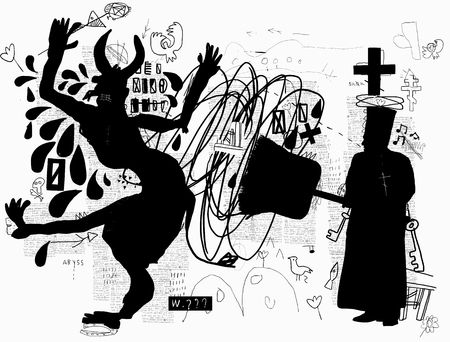 A symbolic image, like an Orthodox priest banishing the devil with a big broom.
