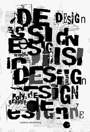 Symbolic image of the word Design, which is written in an abstract style Illustration