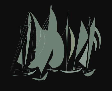 The image of sailing boats on a black background that gathered in one place Illustration