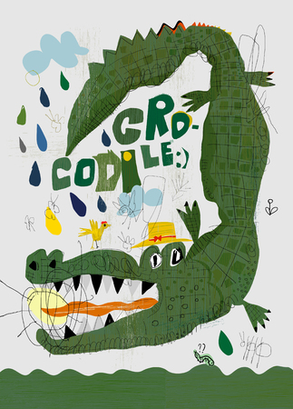 Picture of a crocodile who swallowed the sun Illustration