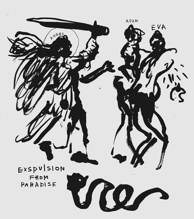The symbolic image of the expulsion from the paradise of Adam and Eve