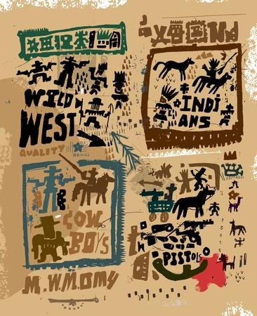 Indios y vaqueros Ilustración de vector
