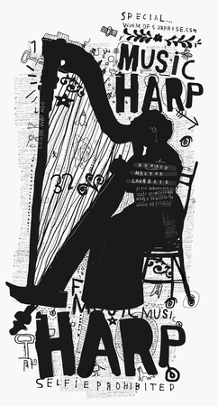 Symbolic image of a woman who plays the harp