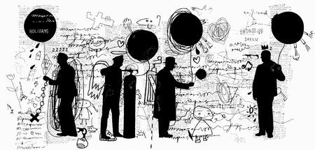 Men who buy balloons Ilustracja