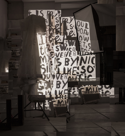 Abstract image of the studio in which the attributes for the artists work are posted Stock Photo