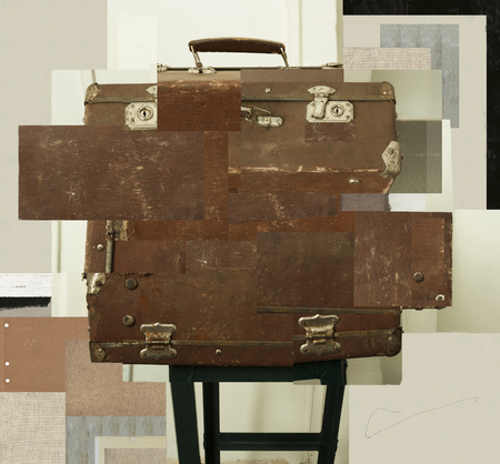 Abstract image of an old suitcase that stands on a stand
