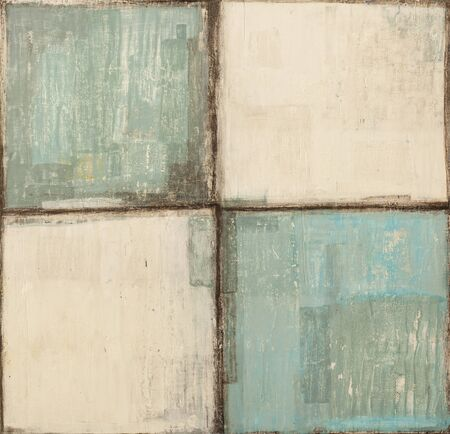 A painting depicting white and blue squares