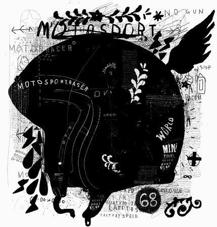 The symbolic image of a helmet for a motorcycle driver. Ilustracja