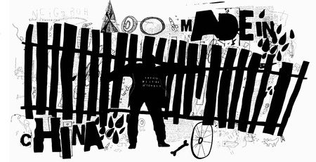 Symbolic image of a man who carries a wooden old fence Ilustracja
