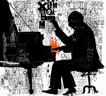 The symbolic image of a man who plays the piano illustration.