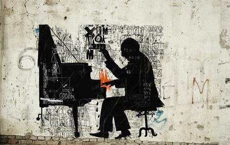 The symbolic image of a man who plays the piano Zdjęcie Seryjne
