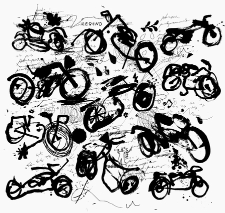 Symbolic image of old motorcycles in expressive styl