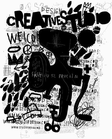 Symbolic image grinder graffiti on a black background