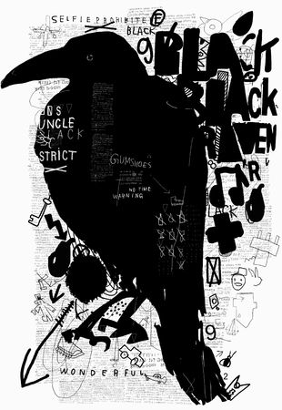 Symbolic image of a bird in the style of graffiti