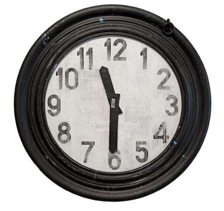Vintage clock in a round wooden frame