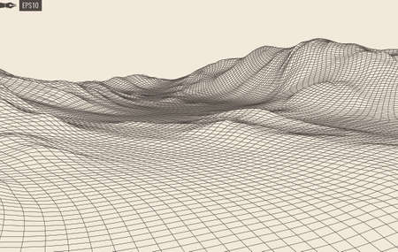 grid pattern: Abstract landscape background. Cyberspace grid. 3d technology illustration.