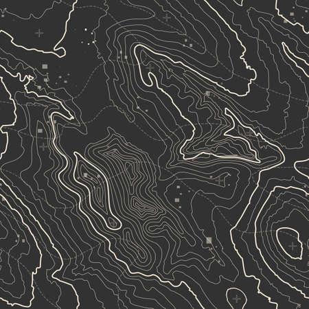 Mapa topográfico del concepto del fondo con el espacio para su copia. líneas de topografía arte contorno, ruta de senderismo de montaña, diseño de la forma. generado por ordenador. Ilustración de vector