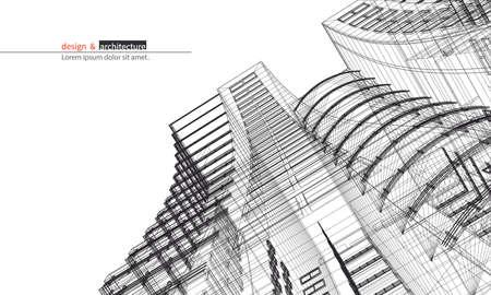 grattacielo urbano. Abstract 3D rendering di costruzione di struttura del telaio di filo. costruzione idea grafica per il modello design.Modern Building.Perspective vista sulla città, grandangolo.