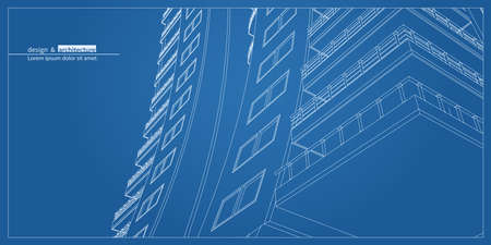 wide angle: Urban skyscraper. Abstract 3D render of building wire frame structure. construction graphic idea for template design.Modern Building.Perspective city view, wide angle.