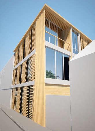 inset: sketch design of inset house ,3dwire frame render