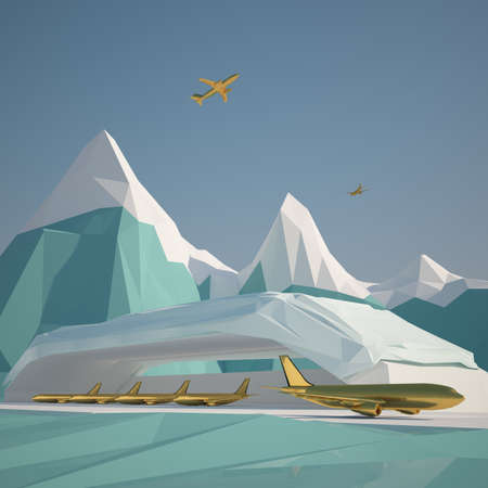 early morning: Abstract low poly background winter ice mountain . Early morning sunny illustration with blue sky .