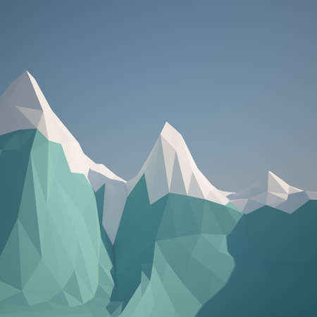 colorado mountains: Abstract low poly background winter ice mountain . Early morning sunny illustration with blue sky .