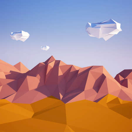 colorado mountains: Abstract background with sand desert and white stones flying in the air . Early morning sunny illustration with blue sky . Stock Photo