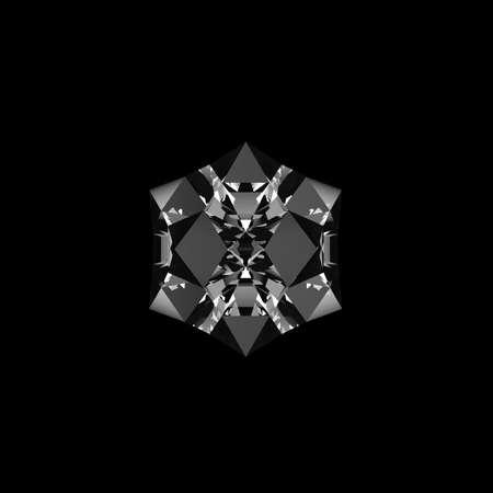 quartz: Quartz crystal growing on black background