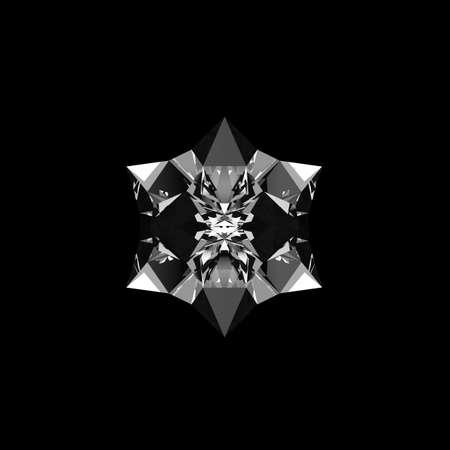 quartz: Quartz crystal growing on black background isolated