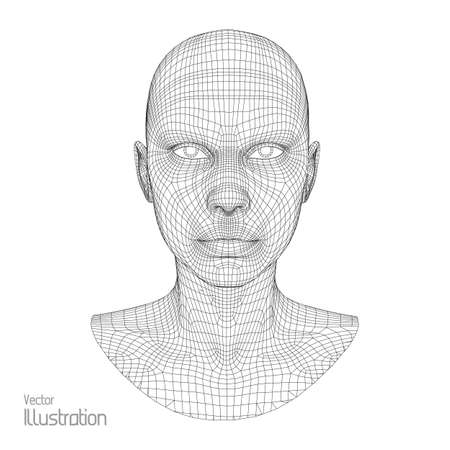 Head of the Person from a 3d Grid. Human Head Wire Model. Human Polygon Head. Face Scanning. View of Human Head. 3D Geometric Face Design. 3d Polygonal Skin.