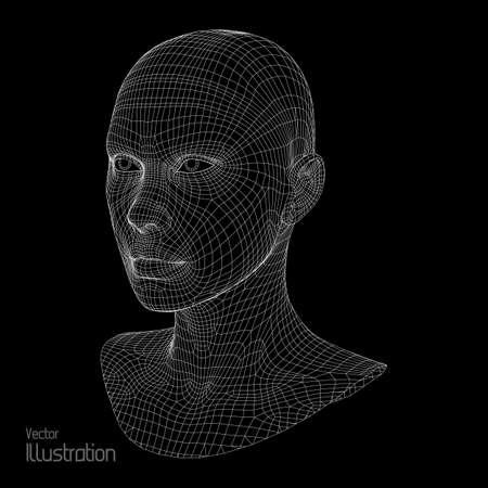 Jefe de la persona de una rejilla 3d. Modelo de alambre cabeza humana. Cabeza humana polígono. Escaneo cara. Vista de la cabeza humana. Frente a diseño geométrico 3D. Skin poligonal 3d. Foto de archivo - 62450516