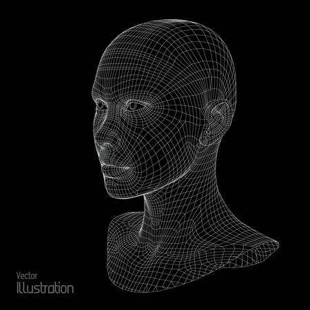 Head of the Person from a 3d Grid. Human Head Wire Model. Human Polygon Head. Face Scanning. View of Human Head. 3D Geometric Face Design. 3d Polygonal Skin. 免版税图像 - 62450517