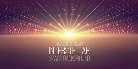 hyperspace: interstellar space background.Cosmic galaxy illustration.Background with nebula, stardust and bright shining stars.