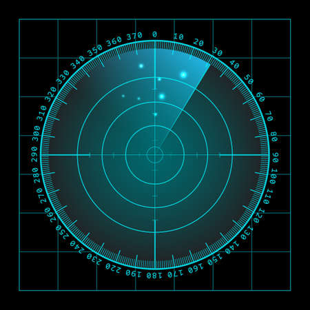 Military green radar. Screen with target. Futuristic HUD interface.