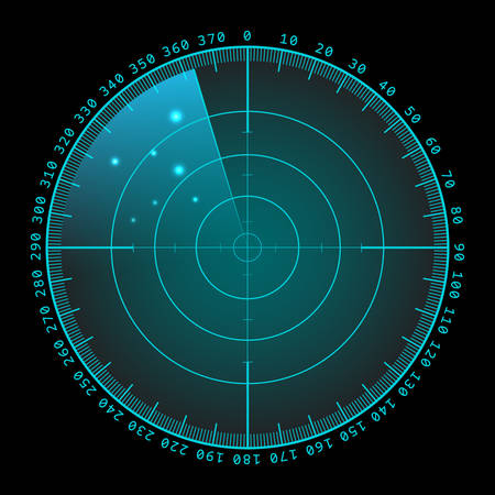 Military green radar. Screen with target. Futuristic HUD interface.