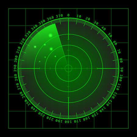 blip: Military green radar. Screen with target. Futuristic HUD interface.