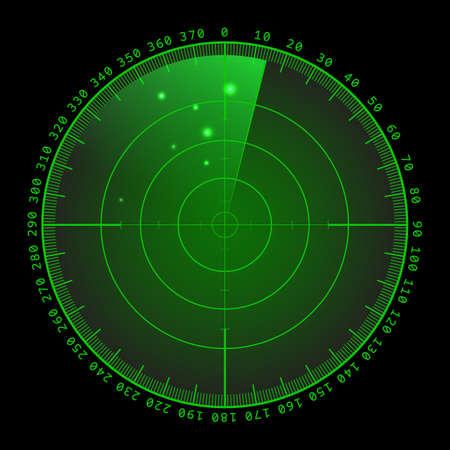 ミリタリー グリーンのレーダー。ターゲットを画面します。未来の HUD インターフェイス。