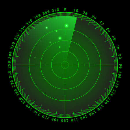 Military green radar. Screen with target. Futuristic HUD interface. 免版税图像 - 62453700