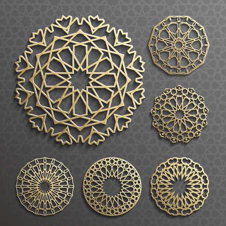 ornement, motif persan. 3d éléments de motif rond. Géométrique icône modèle défini. Circulaires symboles arabes ornementales.