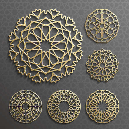 ornament , Persian motif . 3d round pattern elements . Geometric icon template set. Circular ornamental arabic symbols .