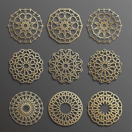 gold colour: ornament , Persian motif . 3d round pattern elements . Geometric icon template set. Circular ornamental arabic symbols .