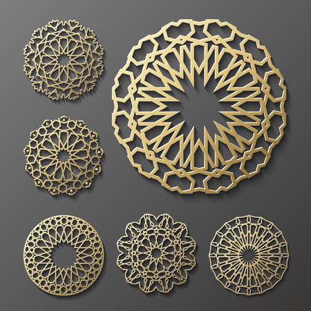 ornament , Persian motif . 3d round pattern elements . Geometric icon template set. Circular ornamental arabic symbols .